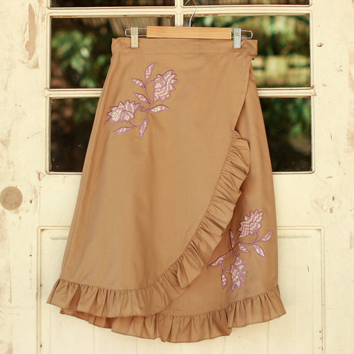 Audrey Wrap Around Skirt - Khaki & Lilac