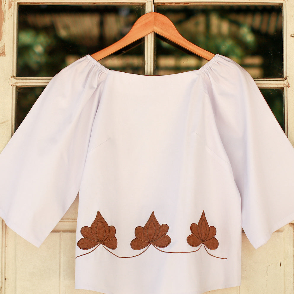 Sofia 3/4 Sleeve Blouse - White & Khaki
