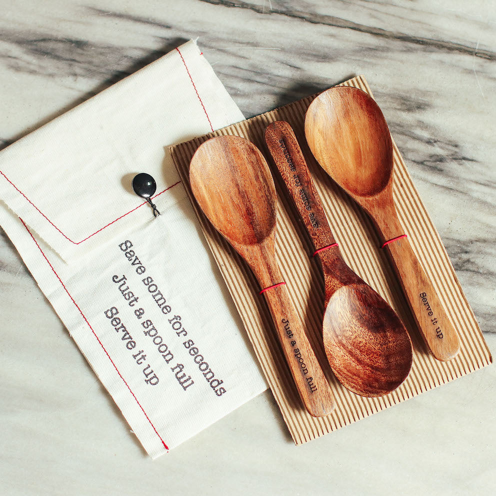 """Save some for seconds, Just a spoon full, Serve it up"" Serving Spoon Set of 3"