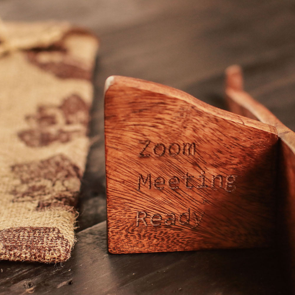 """Zoom Meeting Ready"" Wooden Laptop Stand"
