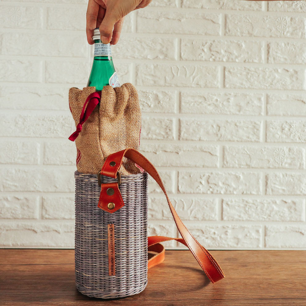 Margueritte Wicker Water Bottle Holder  ( Domesticity x Hindy Weber )