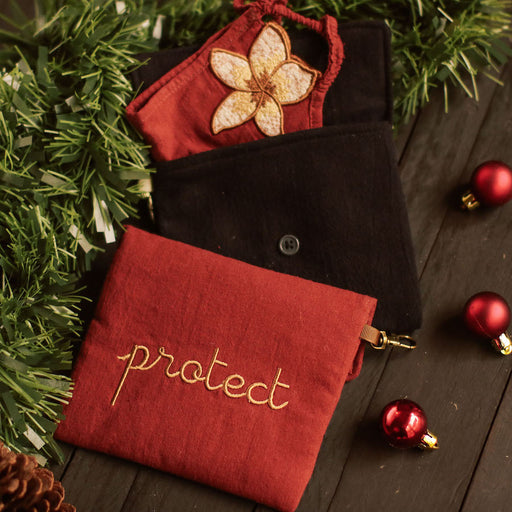 """Protect"" Embroidered Mask Holder"