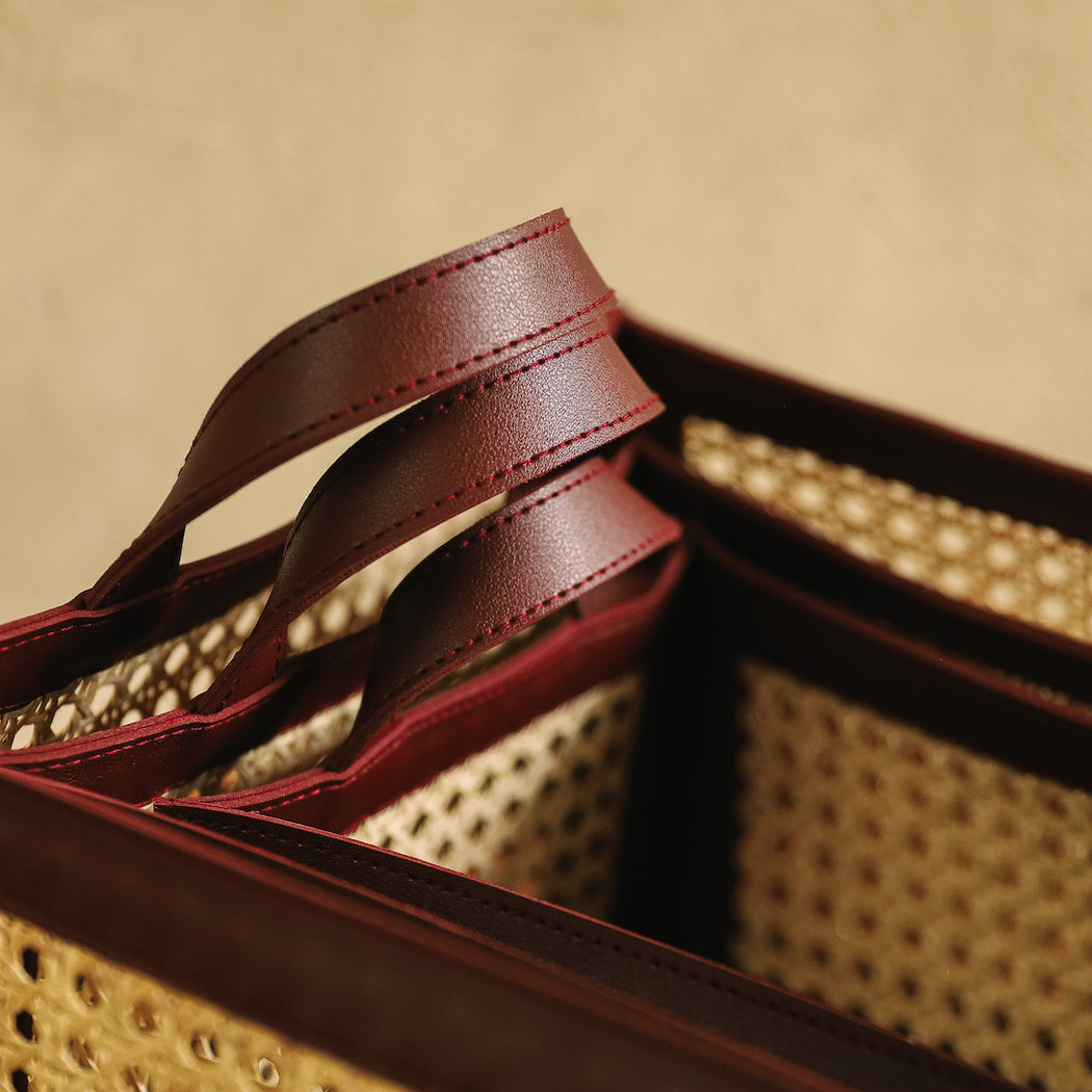 Pilar Woven Solihiya & Leather Utility Basket - Mahogany Brown