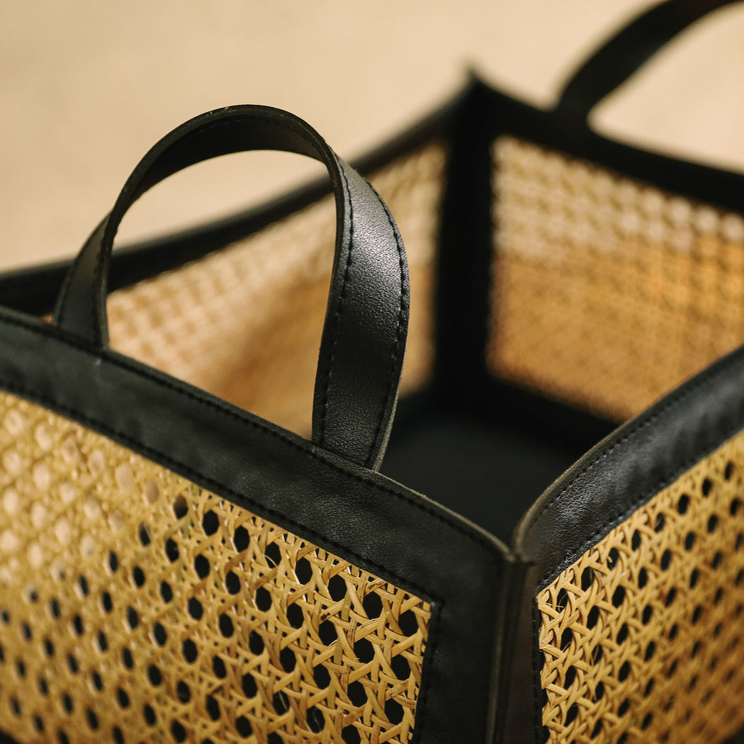 Pilar Woven Solihiya & Leather Utility Basket - Black