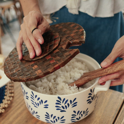Mirabelle Large Ceramic Rice Bowl with Wooden Server