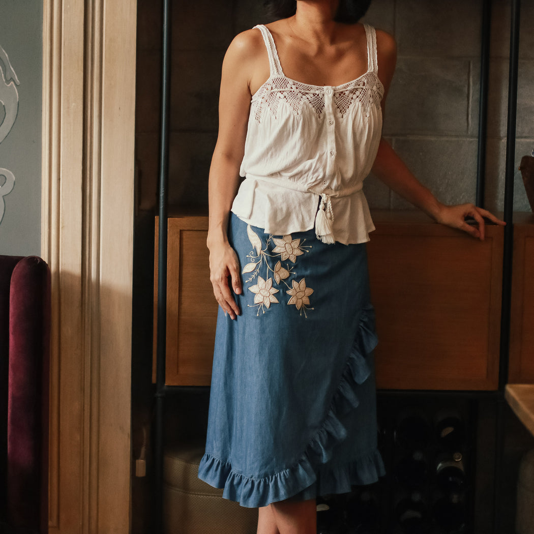 Cecille Wrap Around Skirt - Denim & Off White