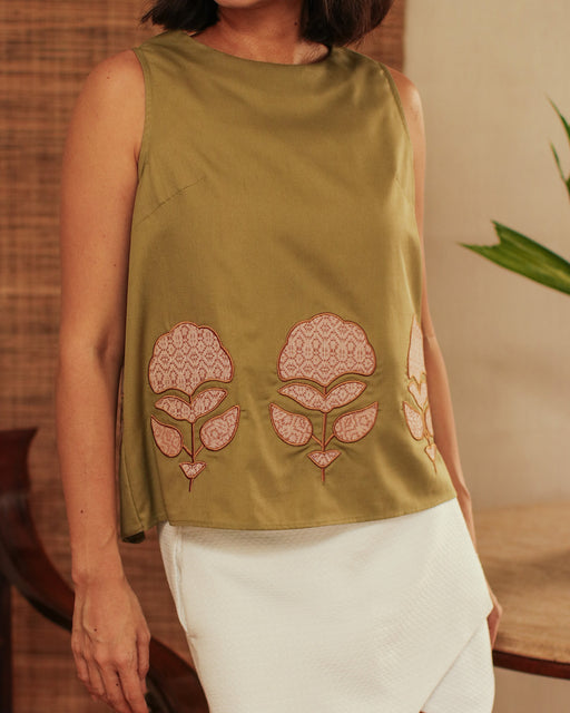 Mikaela Ribbon Blouse - Olive