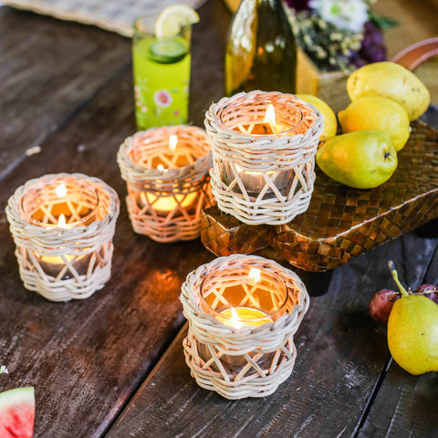Lily Wicker Votive Holder Set of 4