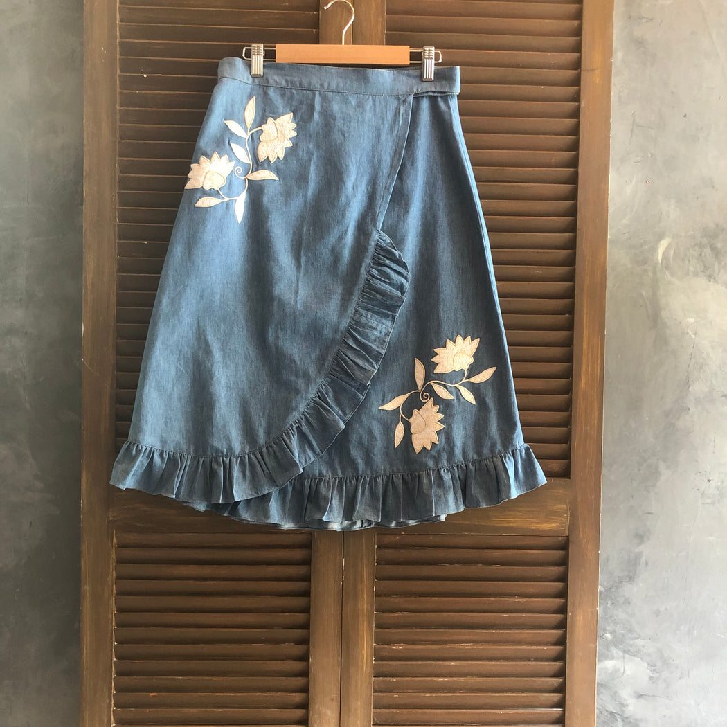 Audrey Wrap Around Skirt - Denim & Off White