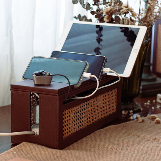 Hides all your unsightly power cords in this aesthetically pleasing organizer box. Keeps your cables well-managed and clean. Each cover holds your devices while charging. Practical organizing accessories to help set up your office as we safely work from home.