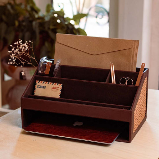 Designed for those living in small spaces, our Margarita Portable Office Desk Organizer will help ease your office situation as we continue to safely work from home. Functional and compact, our organizer allows you to move from one place to the other.  Practical organizing accessories to help set up your office at home. Home decor pieces by Domesticity available in the Philippines.