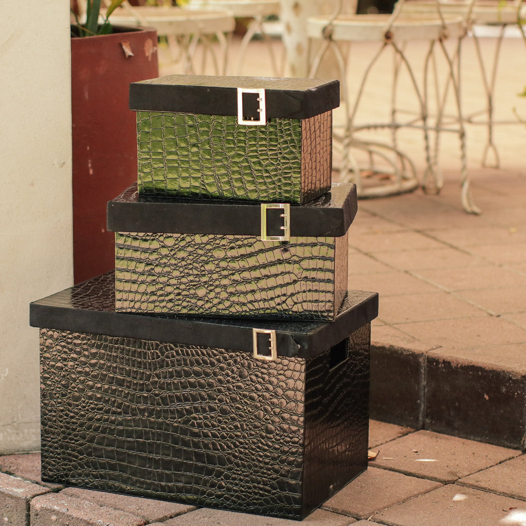 Sample Sale L - Faux Leather & Metal Buckle Storage Box