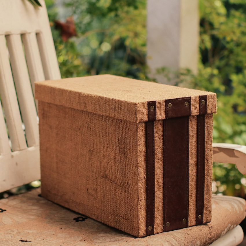 Sample Sale - Jute Sack & Faux Leather Filing Box - Small