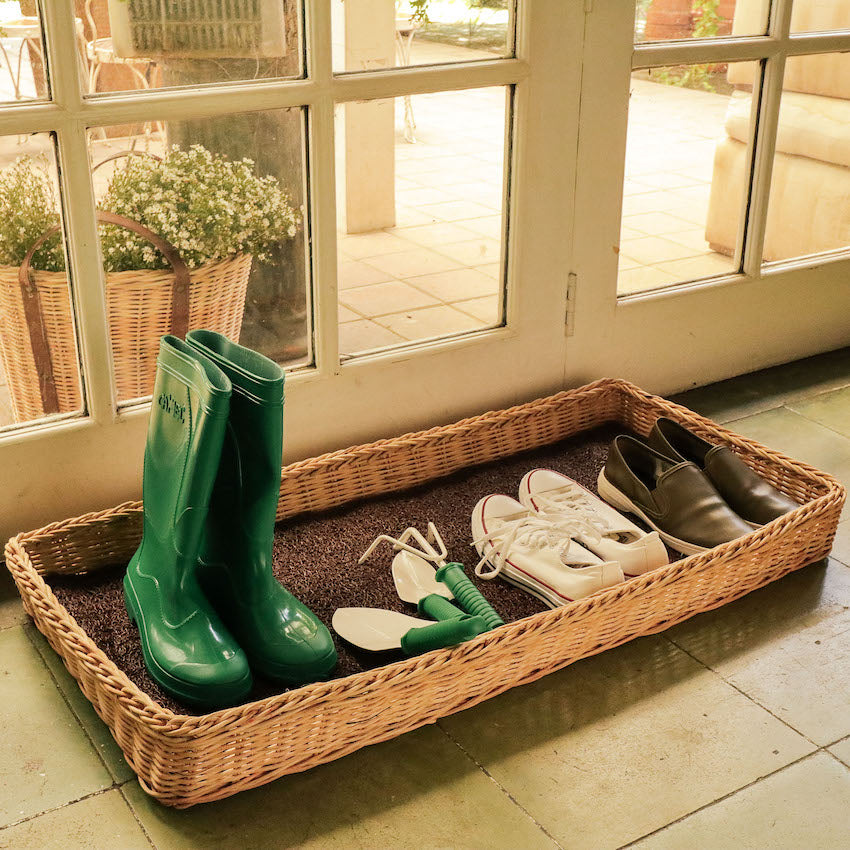 Estelle Wicker Outdoor Shoe Tray