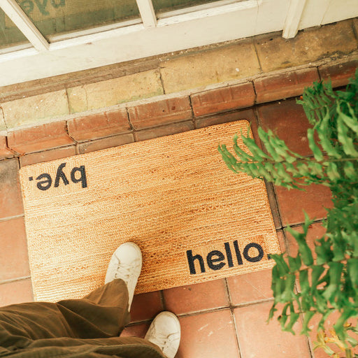 """Hello / Goodbye"" Doormat"
