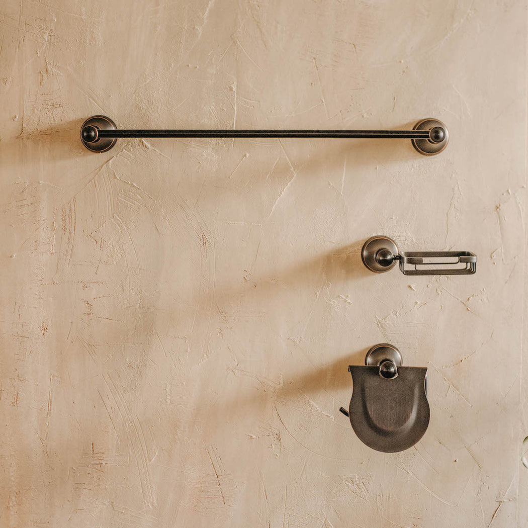 Vintage Black Bathroom Hardware Set of 3