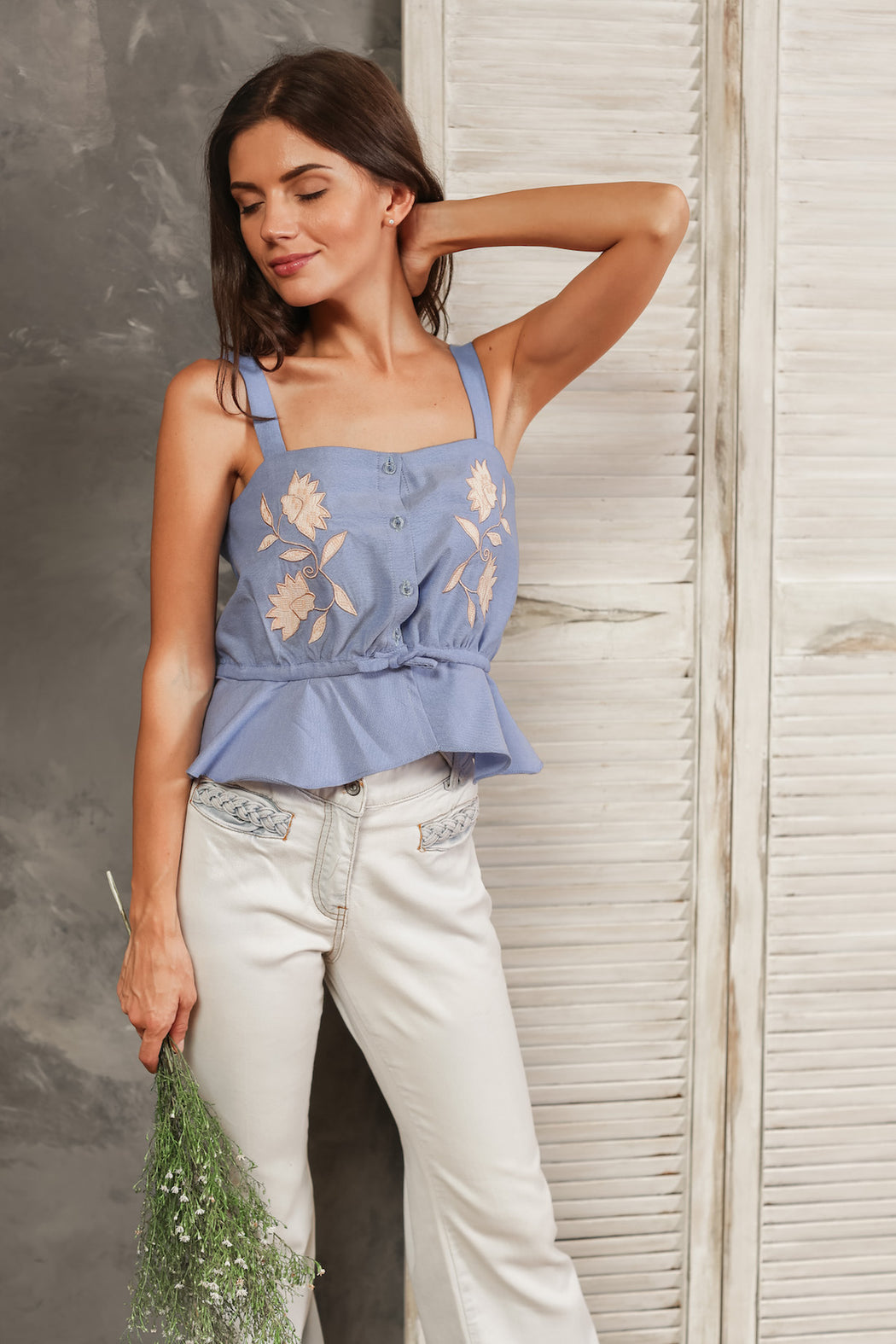 Audrey Embroidered Button Down Top - Light Blue