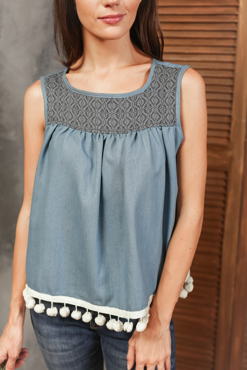 Lulu Sleeveless Top with Pompom Fringe - Chambray