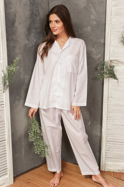 Anya White Cotton Pajamas