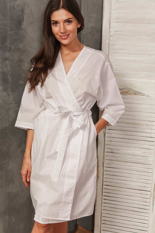 Geraldine White Cotton Bath Robe