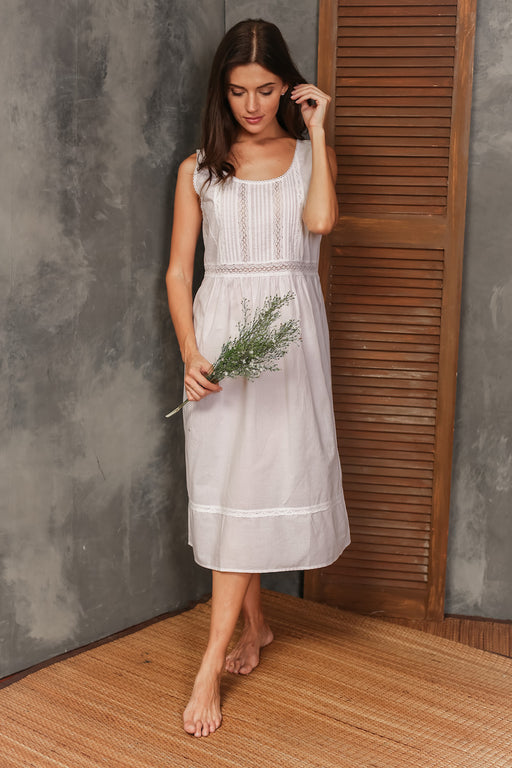 Pamela White Cotton Nightgown