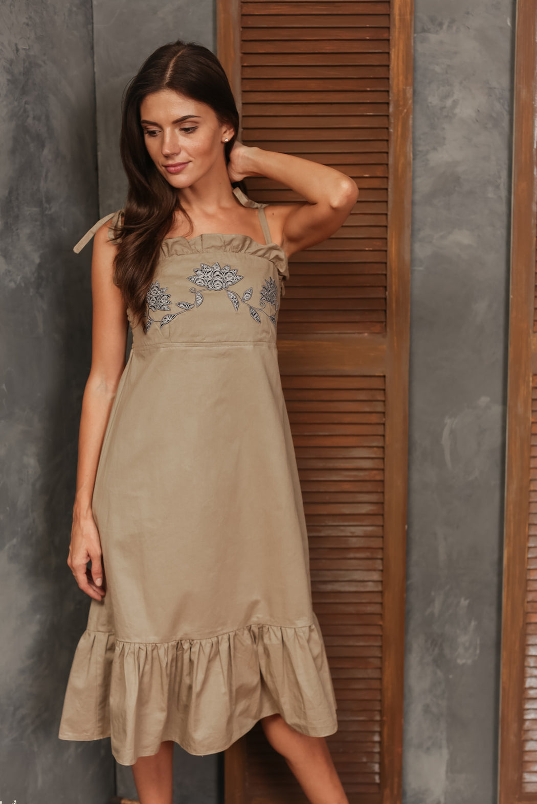Lucia Embroidered Spaghetti Strap Dress - Khaki