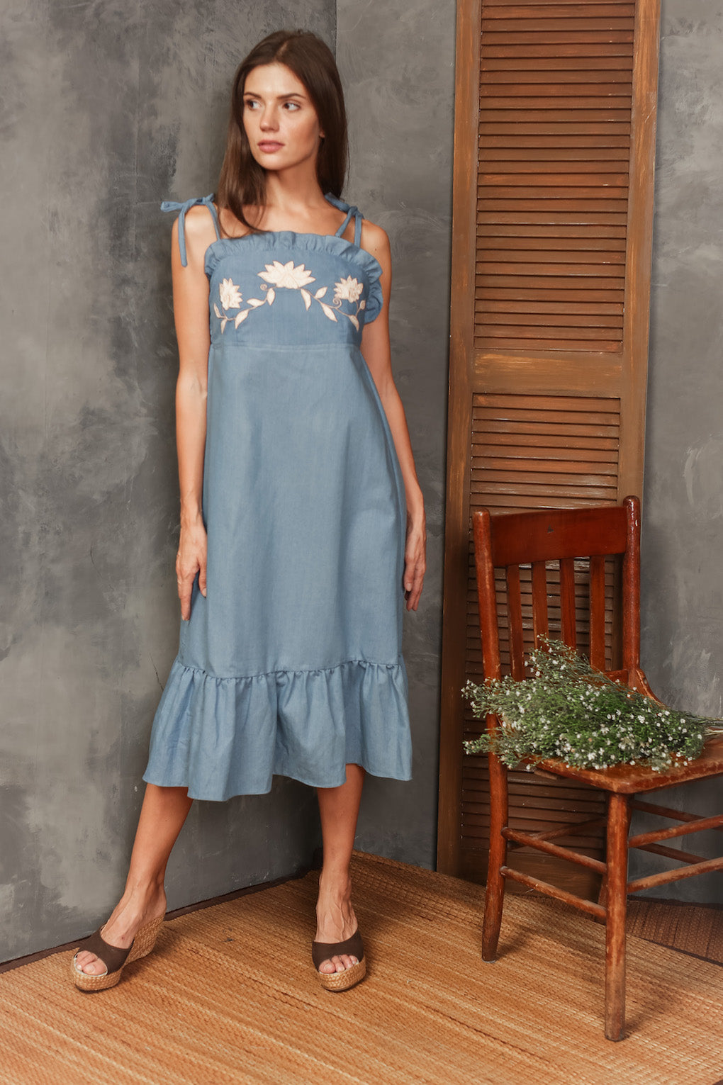 Lucia Embroidered Spaghetti Strap Dress - Chambray