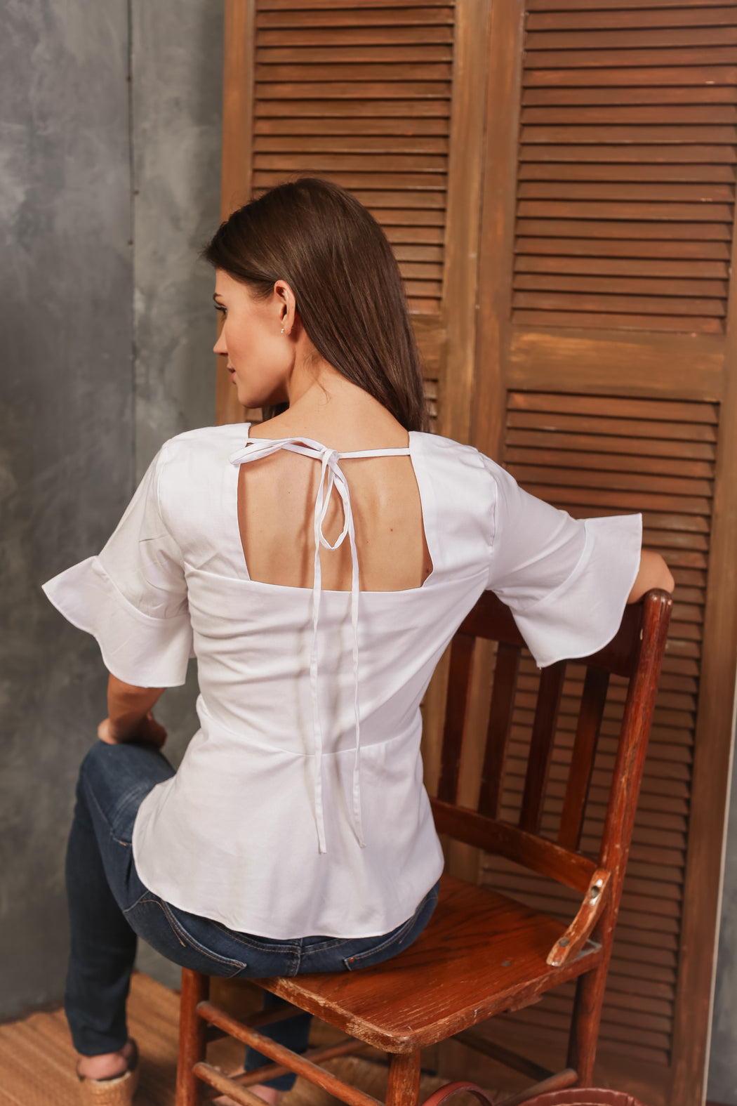 Mimi Embroidered 3/4 Sleeve Top - White