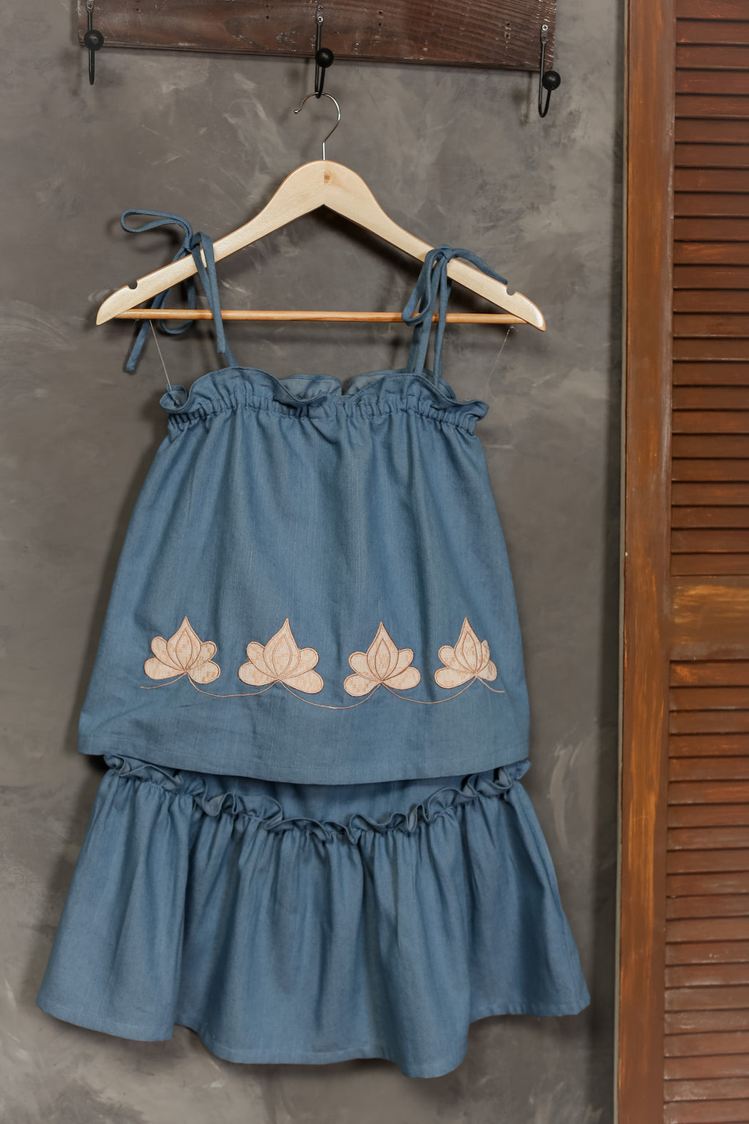 Gaia Embroidered Top & Skirt Set - Chambray