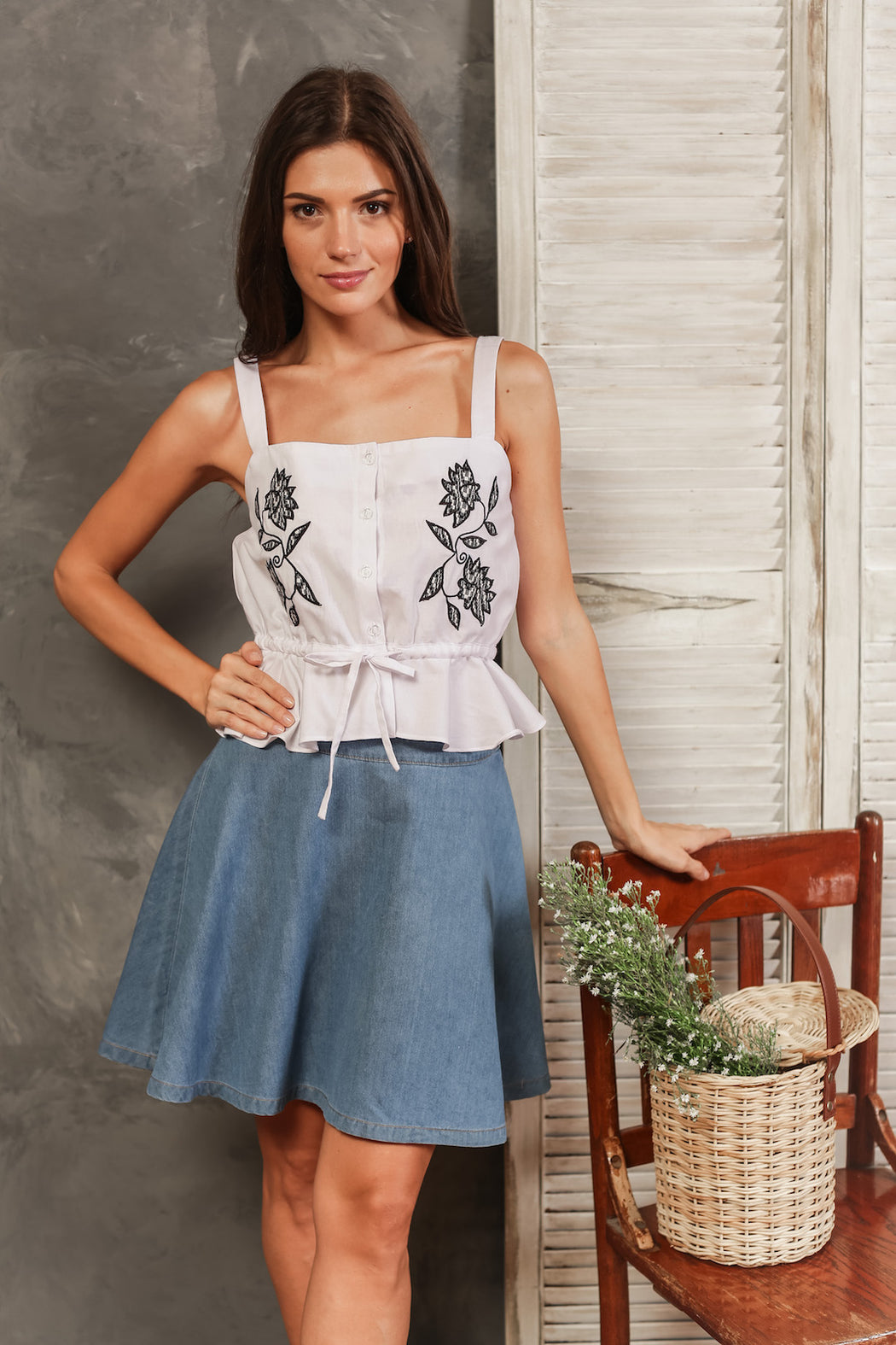 Audrey Embroidered Button Down Top - White
