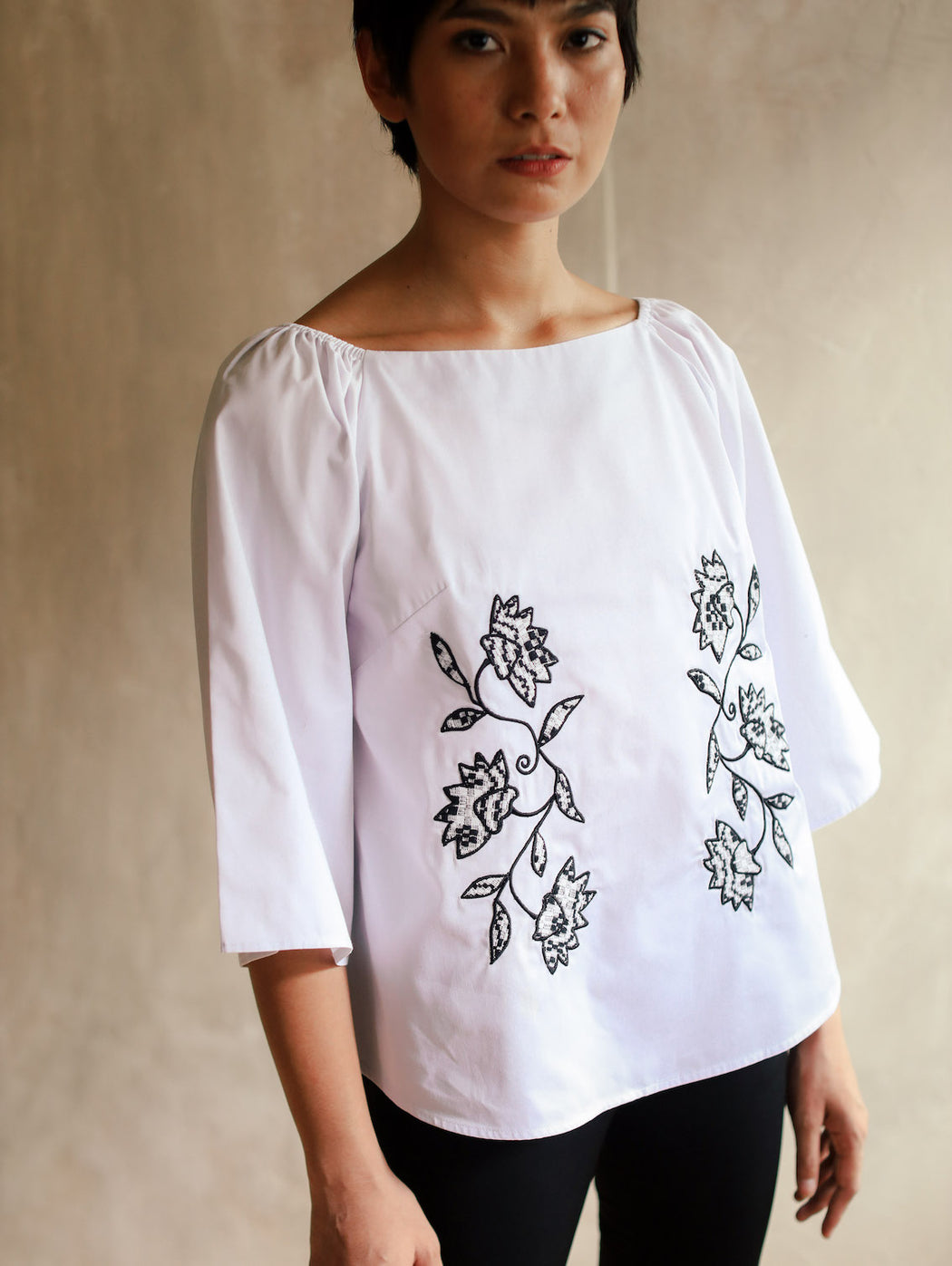 Audrey 3/4 Sleeve Blouse - White & Black
