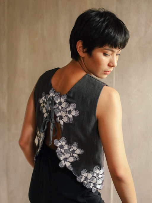 Olivia Embroidered Reversible Vest - Dark Grey