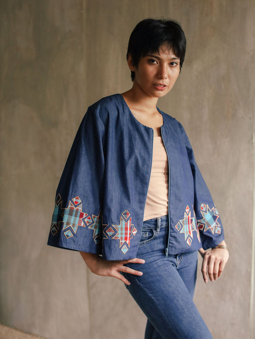 Amelia Embroidered Jacket - Denim & Patadyong