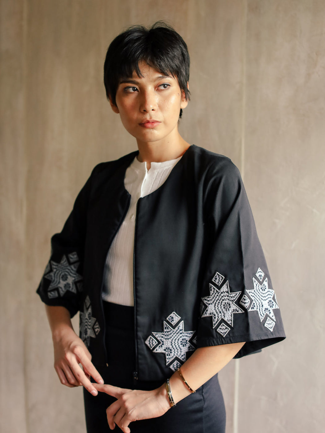 Amelia Embroidered Jacket - Black and Grey