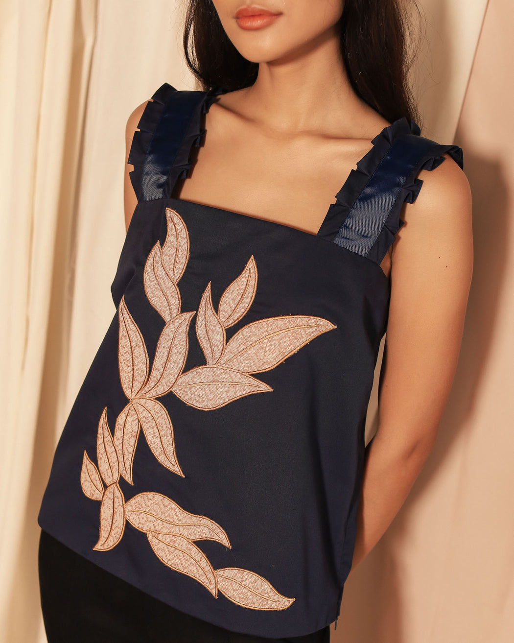 Ligaya Embroidered Blouse - Navy Blue