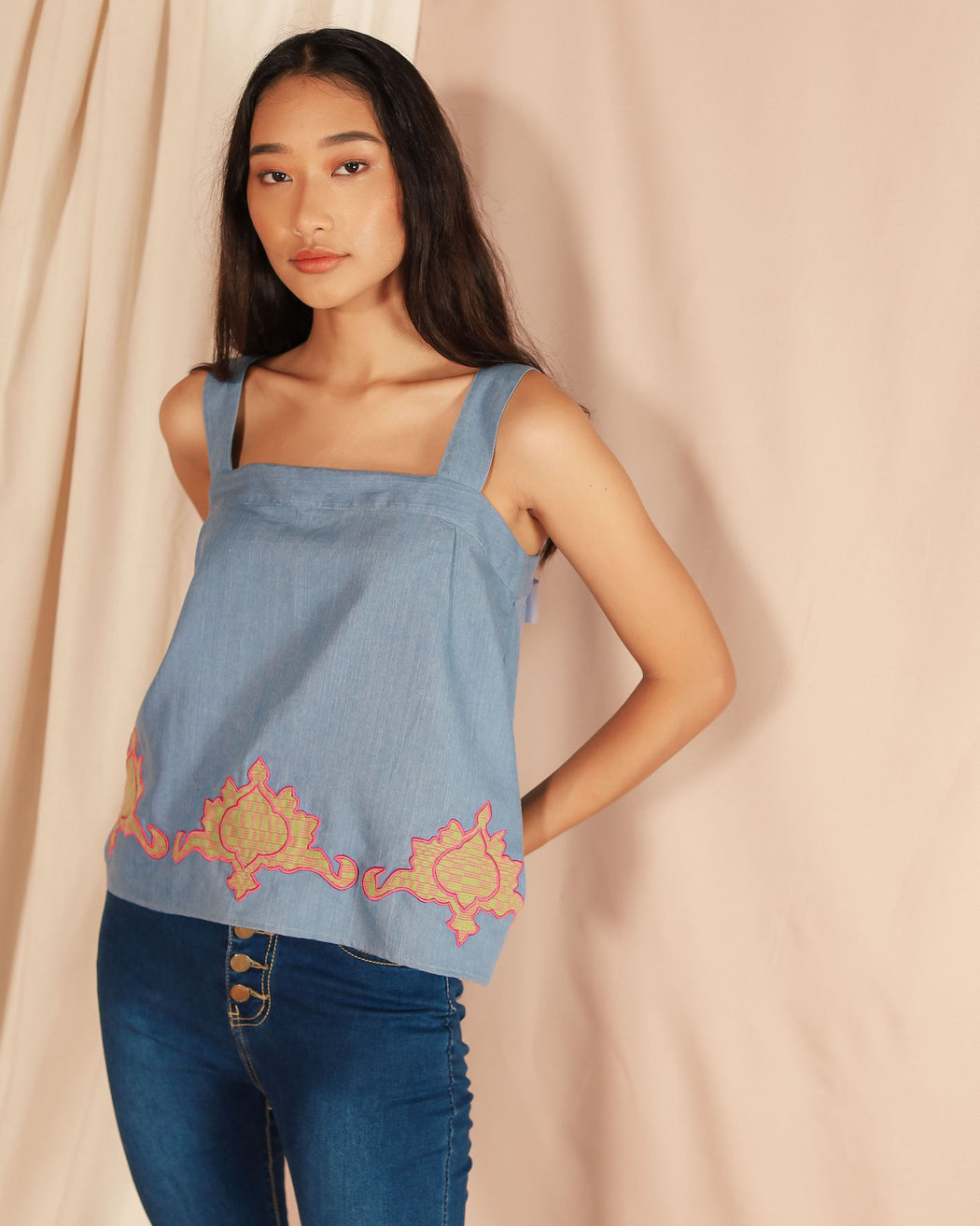 Mayumi Spaghetti Strap Blouse - Denim  with Green Inabel (Tilia x Balay ni Atong)