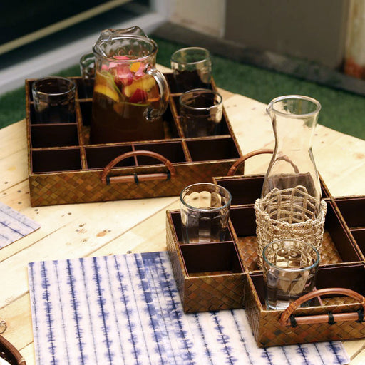 Handmade by our Gawad Kalinga beneficiaries, our tray keeps your pitcher and drinking glasses in place while transferring from place to place. Dining accessory you can use for indoors and outdoors. Lovingly made in the Philippines and available online.