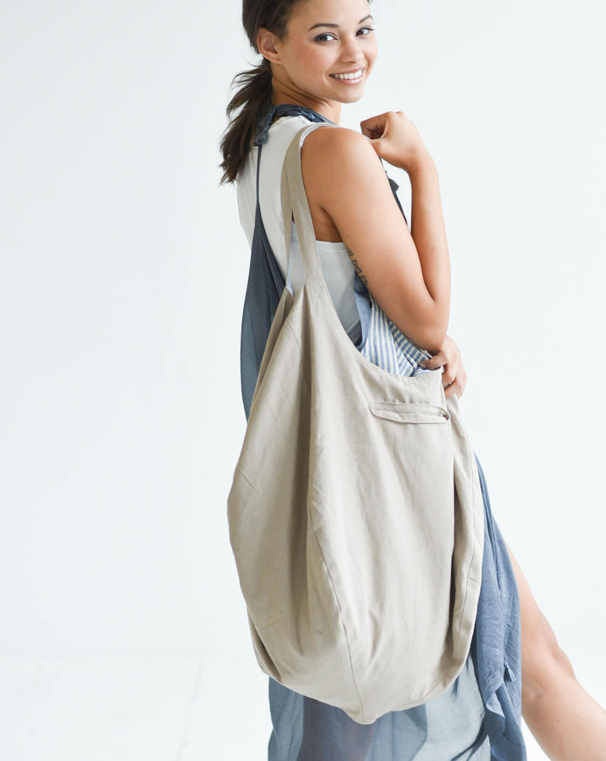 Mer-Sea & Co. Gemini Reversible Cotton Tote - Khaki