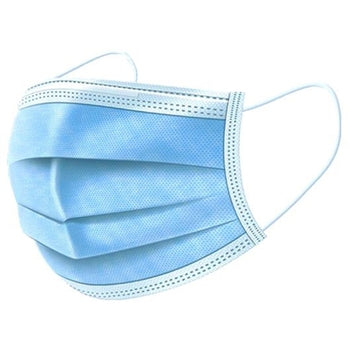 Bosnal 3-ply Disposable Dust Free Face Mask with Ear Loop, Wire Nose, 50 Pack - Blue