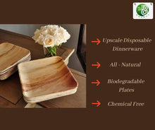 Load image into Gallery viewer, Bosnal 8.5 inch Square Palm Leaf Biodegradable Bamboo and Wood Style Plates, 25 Pcs