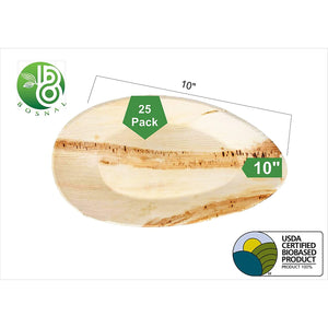 Bosnal Eco Friendly Palm Leaf Biodegradable Plates Oval pack of 25 (10 inches)