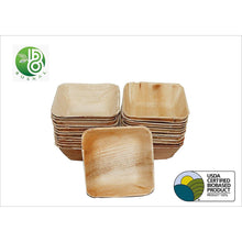 Load image into Gallery viewer, Bosnal Eco Friendly Palm Leaf Biodegradable Bowl Square Pack of 25 (5 Inch)