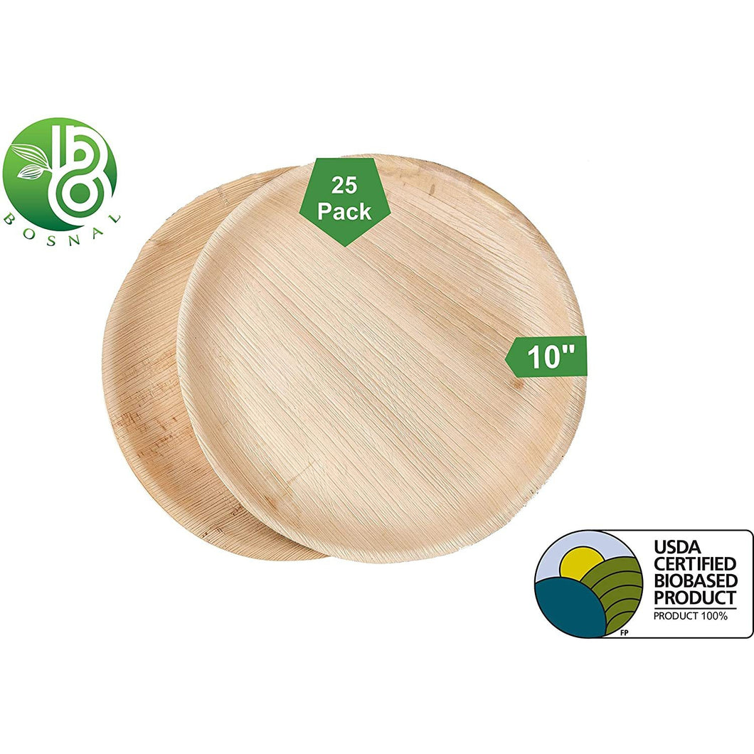 Bosnal Palm Leaf Round Plates; Upscale Disposable Dinnerware; All-Natural Plates - 10 Inch (25 pack)