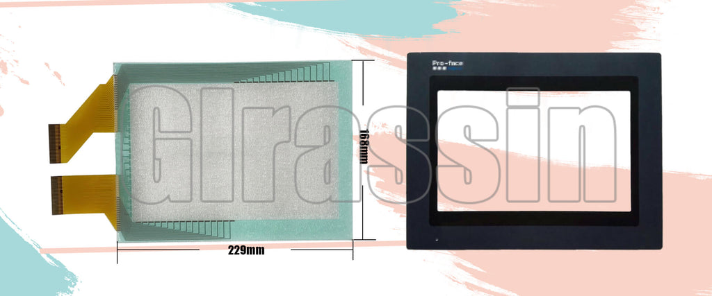 Touch Screen and Protective Flim 8 INCH for Proface HMI GP477R Replacement
