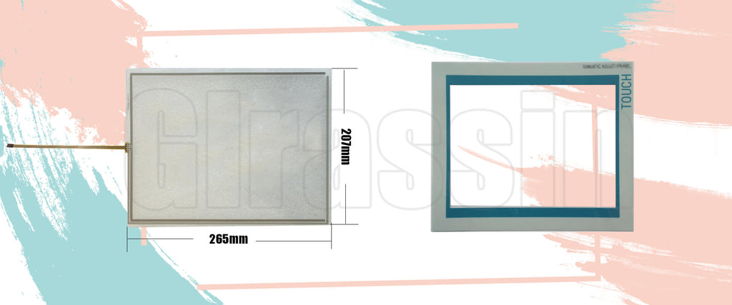Touch Screen and Overlay 12 INCH for Siemens SIMATIC MP 370-12 Touch Replacement