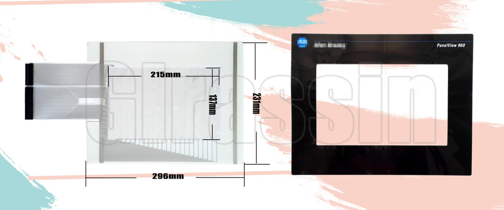 Touch Screen and Protective Flim for Allen Bradley PanelView 900 2711-T9A Replacement