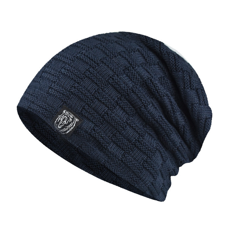 Winter Plush Embroidery Tiger Pattern Knit Cap