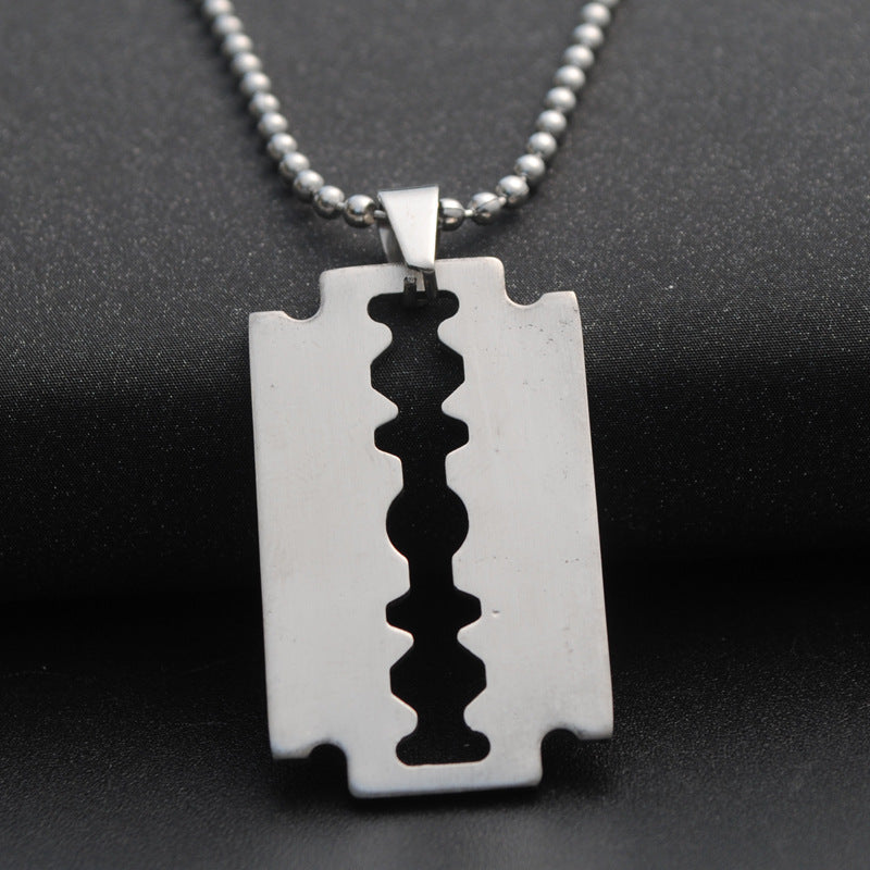 Personalized Punk Titanium steel Razor Blade Pendant Necklace