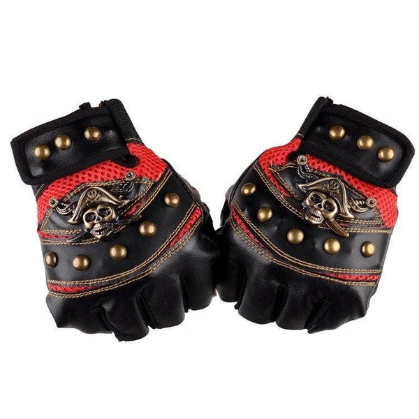 Motorcyclist Skull Leather Gloves