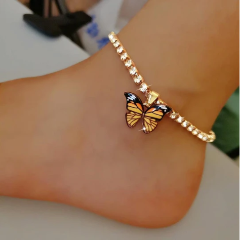 Butterfy Rhinestone Anklet